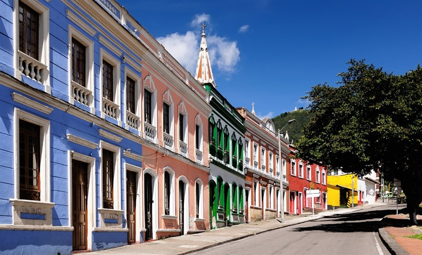Restored colonial mansions in La Candelaria