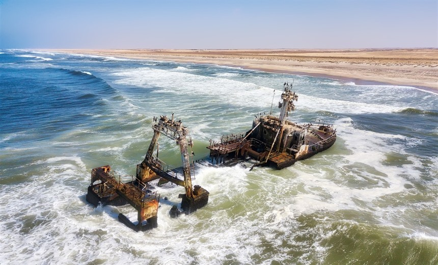 One of the many ships that has fallen foul of the Skeleton Coast's strong currents, thick fog and unpredictable winds. © Lukas Bischoff Photograph / Shutterstock