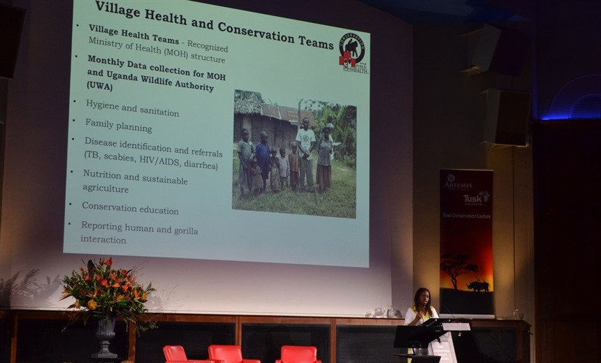 Dr Gladys Kalema-Zikusoka lecturing at the Royal Geographical Society. Photo by Craig Kaufman