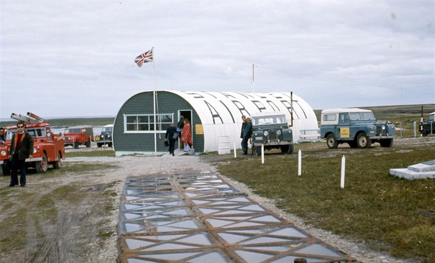 Stanley Airport in the Falkland Islands, taken in 1974 by Hilary Bradt
