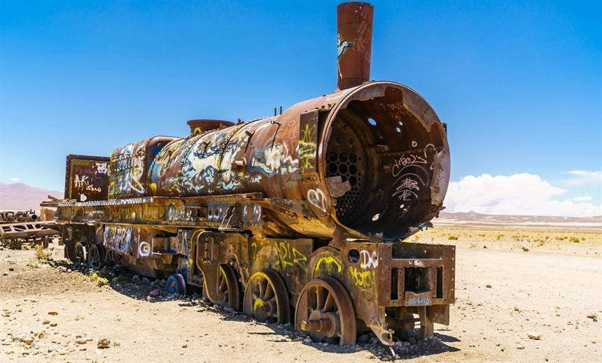 The Train Graveyard is situated 3km from Uyuni