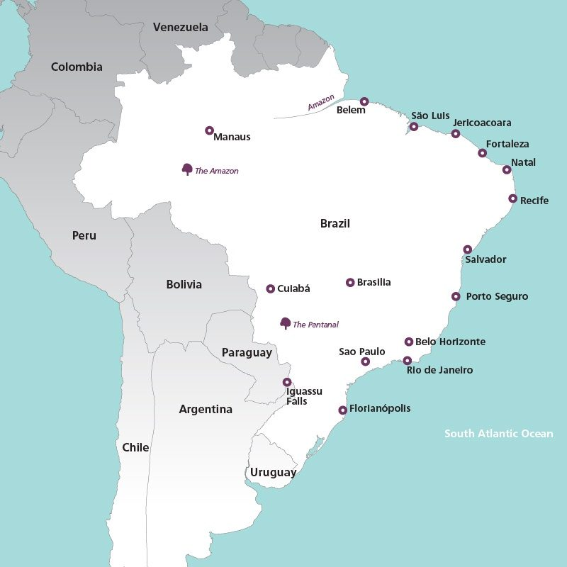 Brazil Culture History Holidays Rainbow Tours - Argentina highlights map