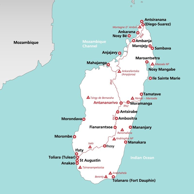 Madagascar Holidays 2017 Holidays to Madagascar – Madagascar Tourist Attractions Map