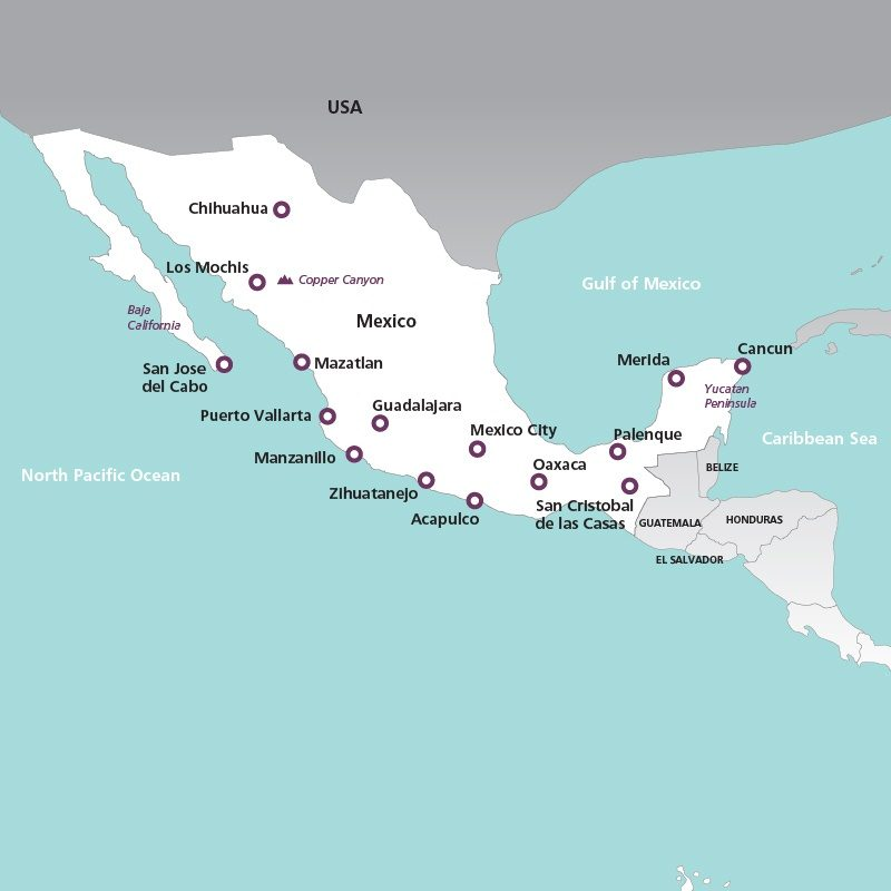 Mexico Holidays 2017 Holidays to Mexico – Map of Mexico Holiday Resorts