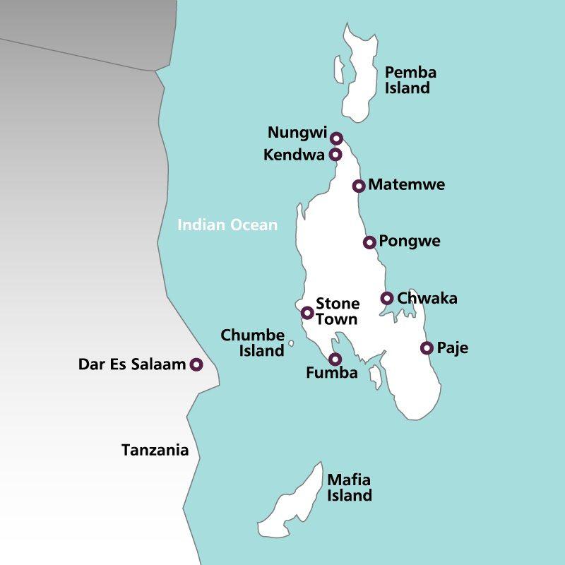 Zanzibar beach holidays 20182019 rainbow tours map of zanzibar gumiabroncs Choice Image