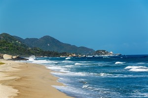 Deserted beach in Tayrona National Park
