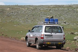 One of our 4-wheel drive vehicles on the Roof of Africa, Bale (Derek)