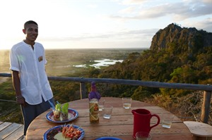 Sundowners at viewing platform, care of Iharana Bush Camp