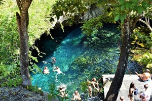 Swimming at the Gran Cenote
