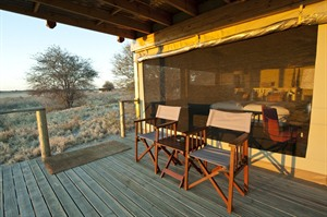 Deck of a tent at the Kalahari Plains Camp
