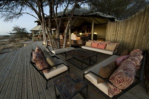 Outdoor lounge area at Kalahari Plains Camp