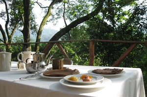Breakfast on the terrace overlooking the gorge