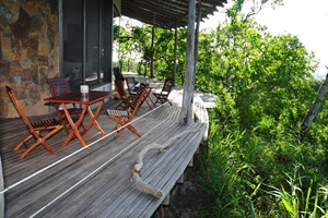 Balcony and decking at the Galapagos Safari Camp