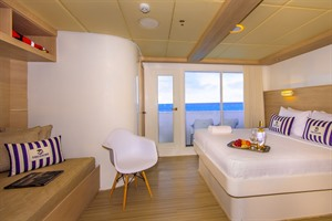 Treasure of Galapagos catamaran bedroom with view