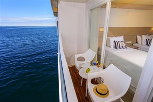 Balcony on the Treasure of Galapagos catamaran
