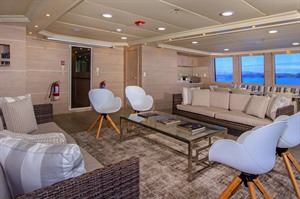 Relaxing lounge on the Treasure of Galapagos catamaran