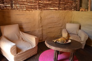 Relaxing in room at Iharana Bush Camp