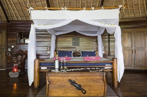 Mosquito net and room at Manafiafy Beach & Rainforest Lodge