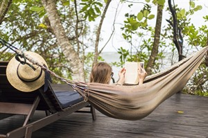 Relaxing in a hammock at Manafiafy Beach & Rainforest Lodge
