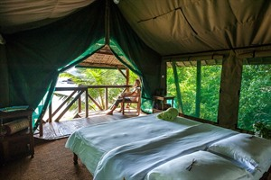 Interior of tented room at Masoala Forest Lodge