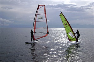 Windsurfing at Lake Kivu Serena Hotel
