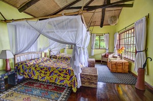 Bed with Mosquito net at Virunga Lodge