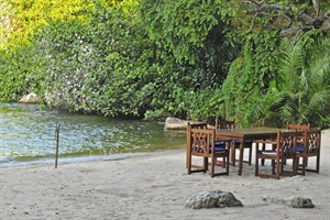 Lakeside dining at Rubondo Island Camp