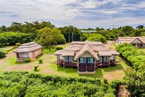 Aerial view of Mweya Safari Lodge