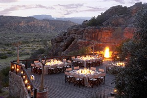 Nighttime dining at Bushmans Kloof