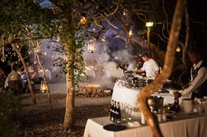 Restaurant dining at night at Grootbos Nature Reserve