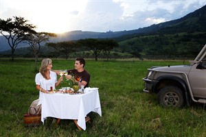 Romantic outside dining at Karkloof Spa
