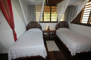 Twin room interior, family bungalow
