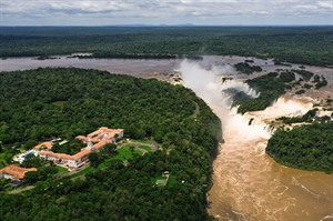 Ariel view of Das Cataratas at Iguazu Falls