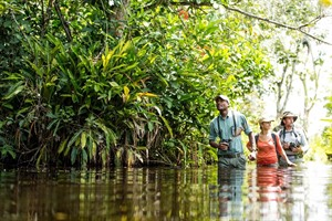 Wading through rivers and swamps is part of the experience