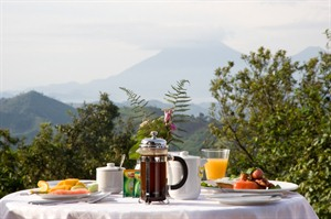 The view from Clouds Lodge overlooking Virunga volcano