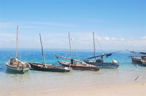 Dhows on the beach, Azura at Quilalea