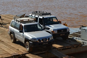 Crossing the Tsiribihina River by ferry